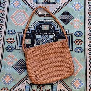 Vintage Cem Woven Leather Tan Shoulder Bag